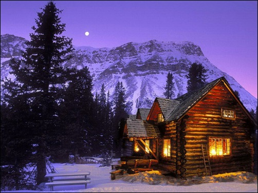 Lighted cabins during a winter night have always been a favorite 502x377