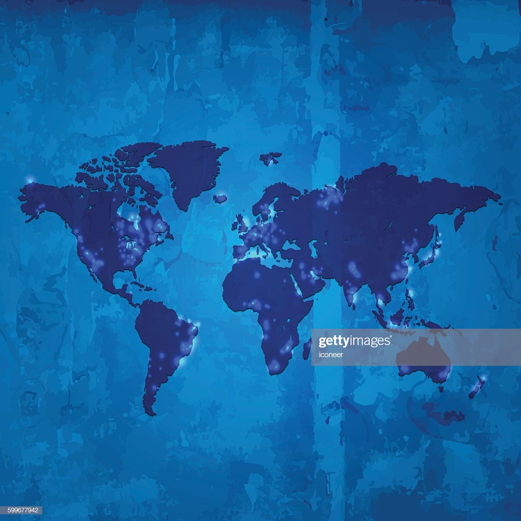 World Map With Light Pollution On Blue Wooden Stained Background 1024x1024