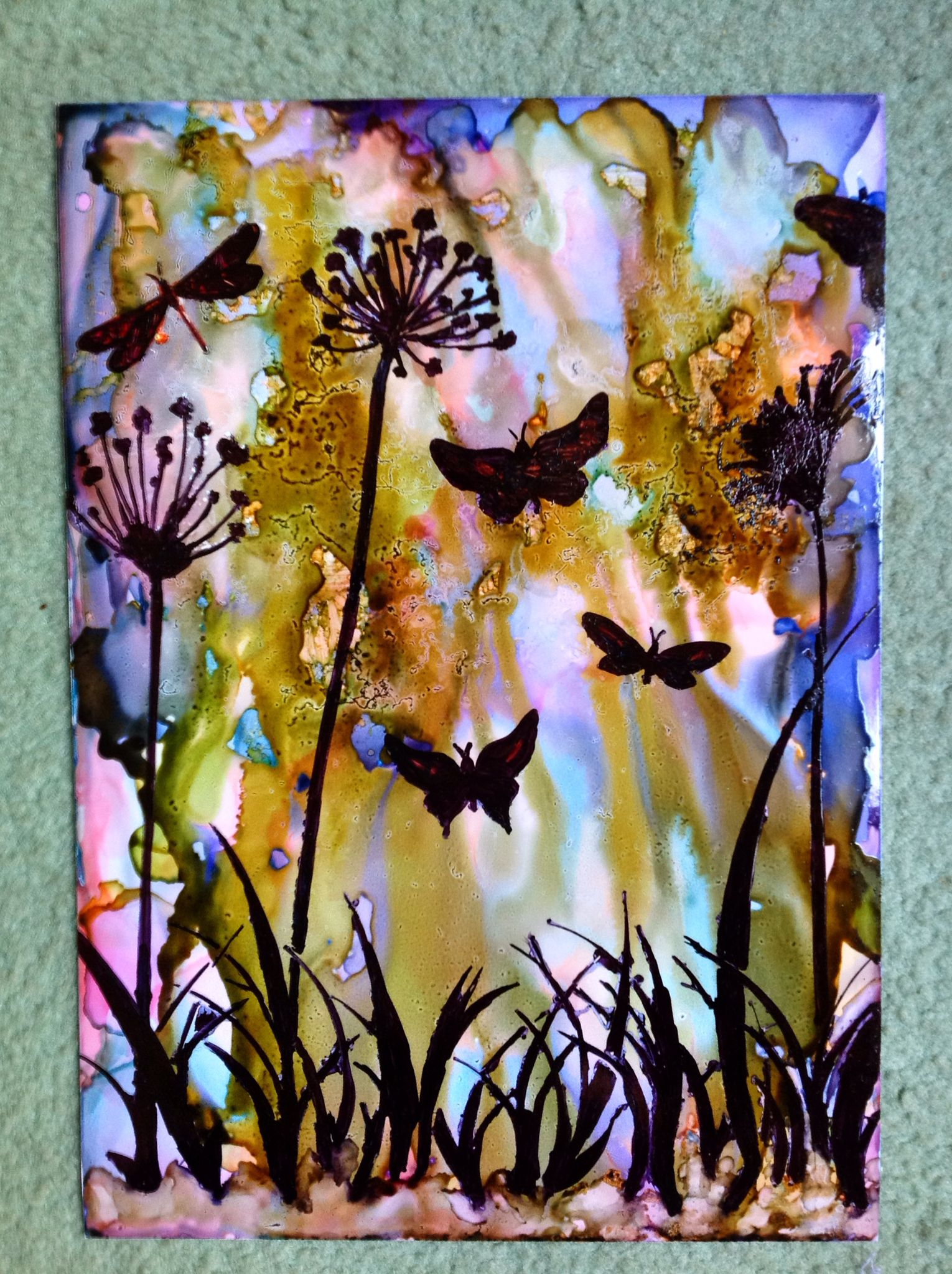 Alcohol ink background stencil with a black sharpie mixed media 1530x2048