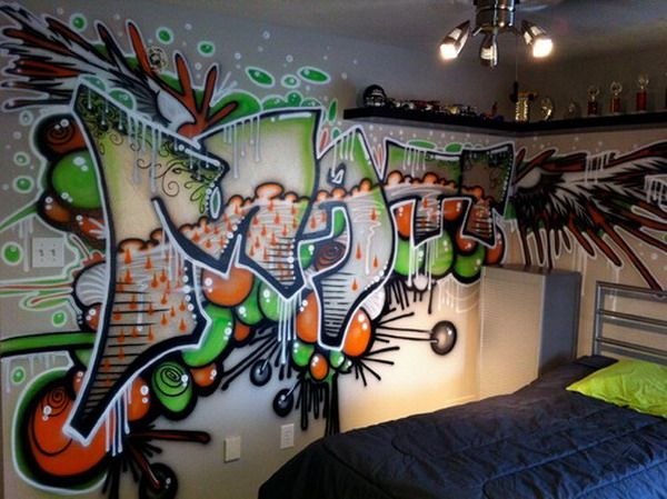 Hip Hop Brush Graffiti Bedroom Murals Kids Room Pinterest 600x449