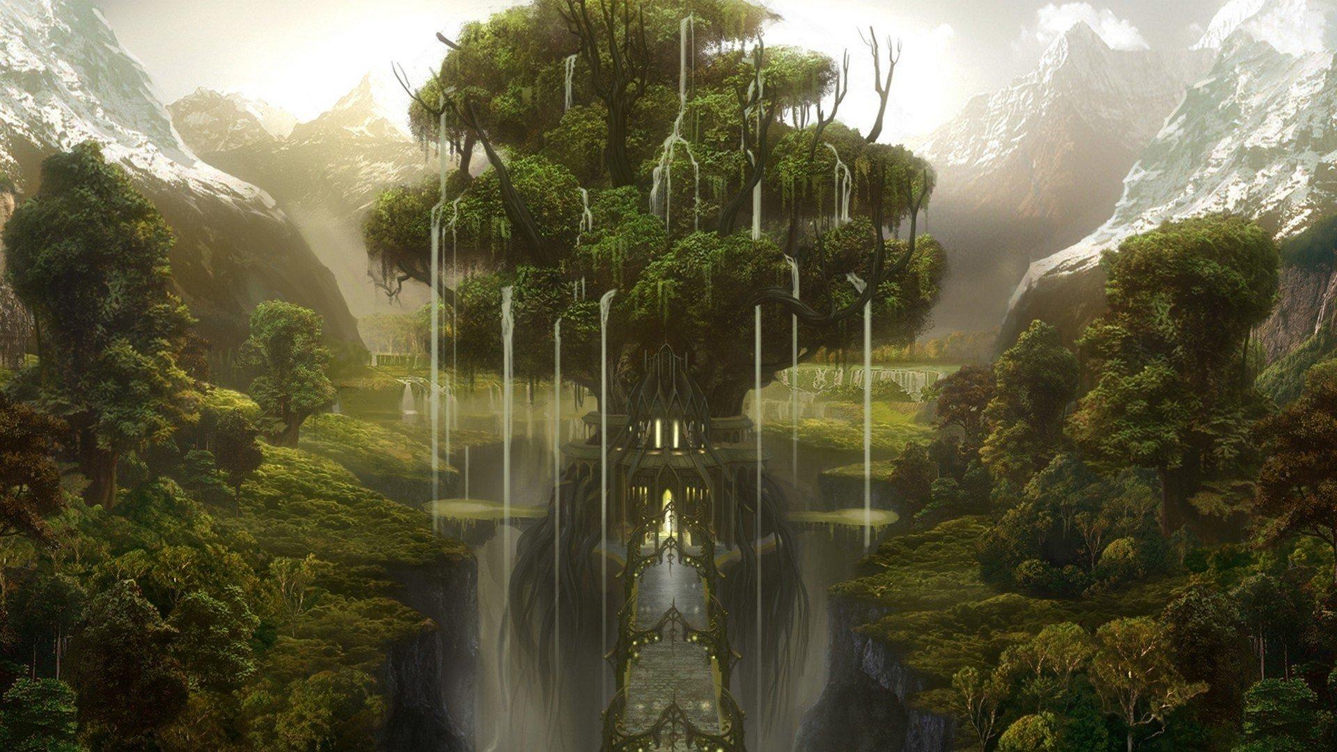 Tree of life fantasy world wallpaper background 1920x1080