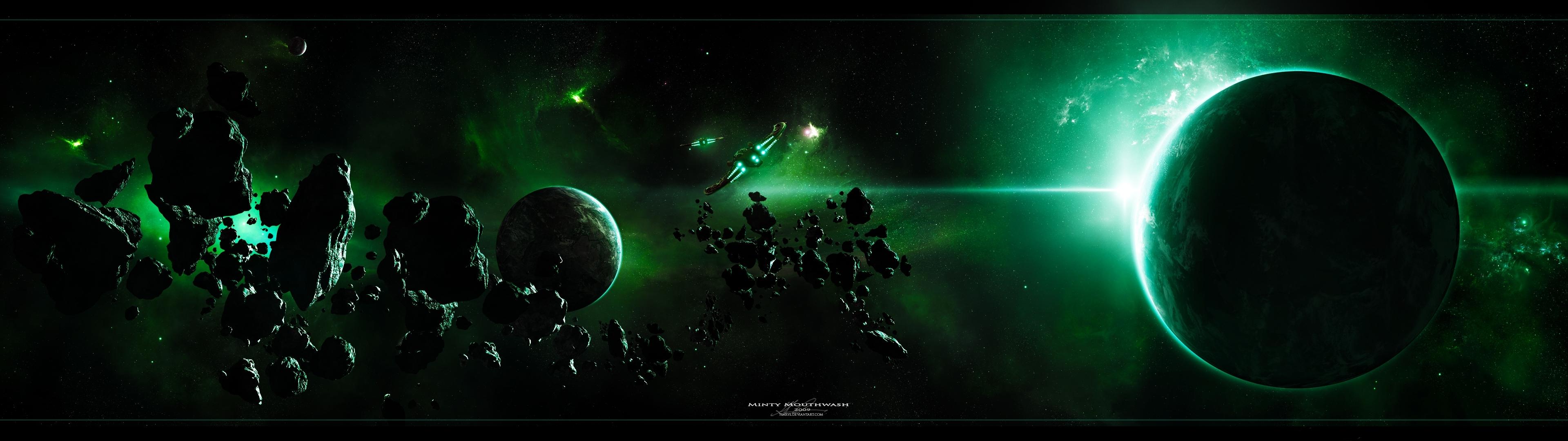 space planets dual screen 3840x1080 wallpaper Wallpaper 3840x1080