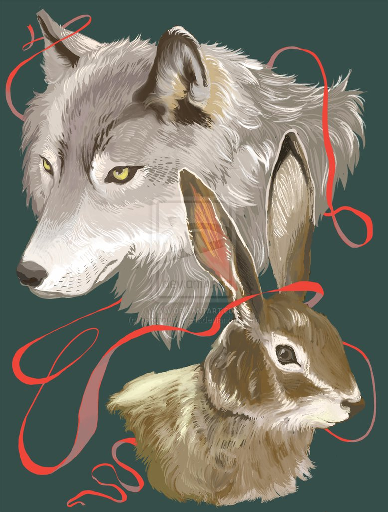 DUMB LUCK The Wolf and the Rabbit by patchouli forest 778x1026