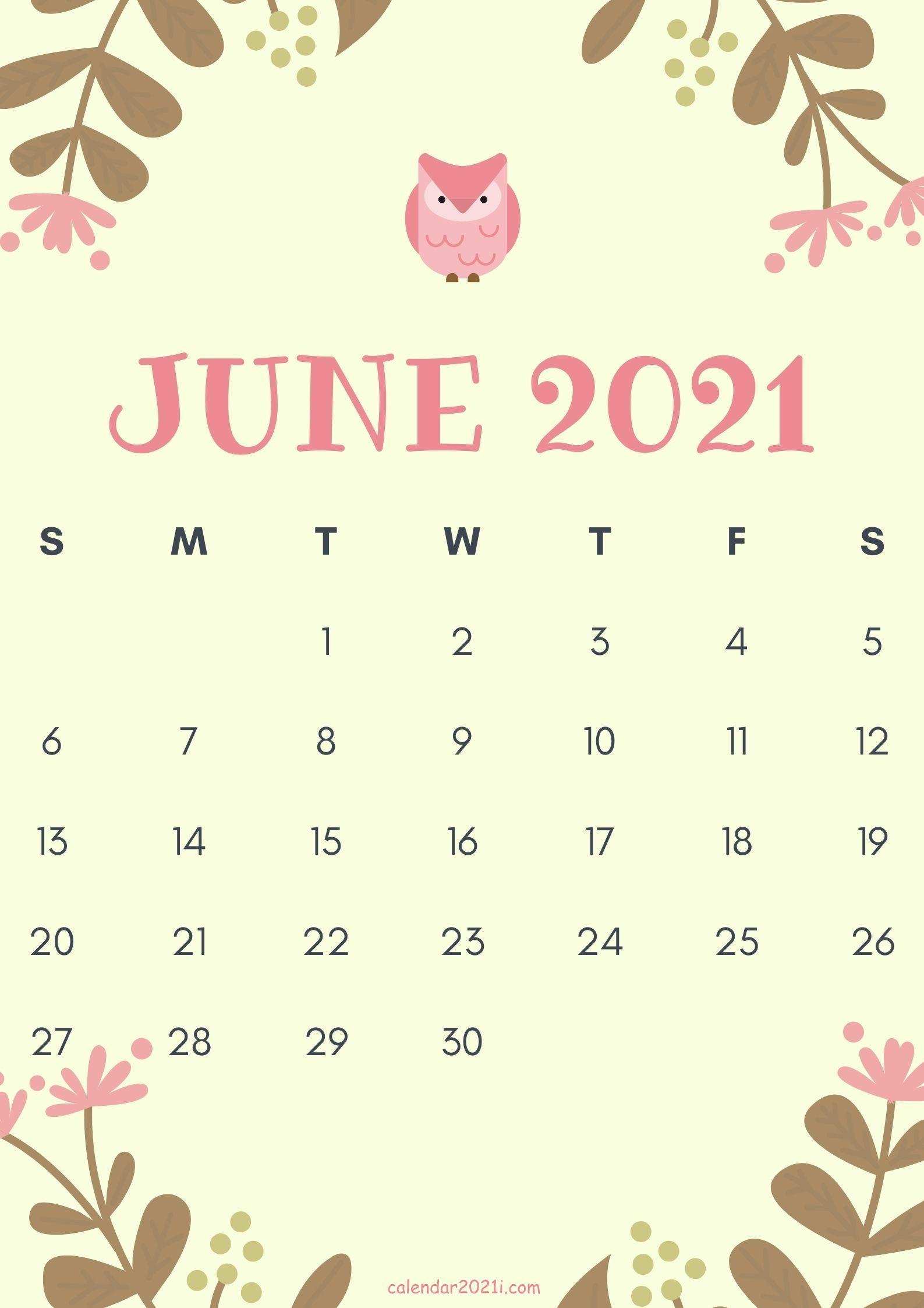 Cute June 2021 Calendar design theme layout download 1587x2245
