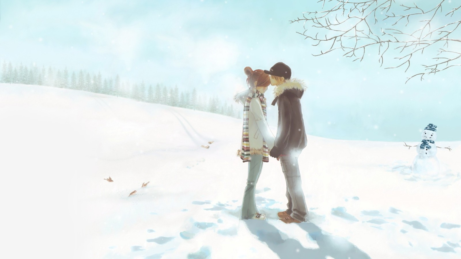 Cute Anime Winter wallpaper 1600x900 14744 1600x900