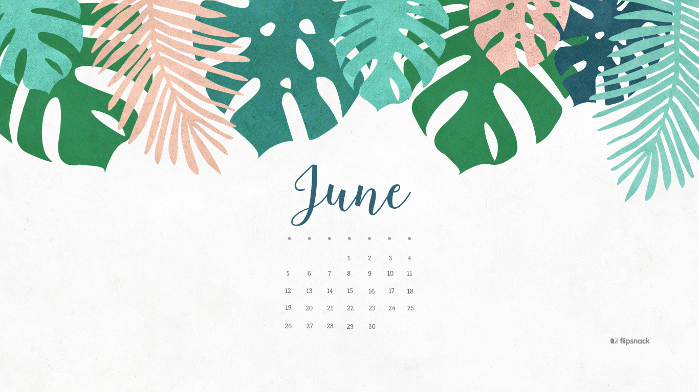 June 2016 calendar wallpaper desktop background 1366x768