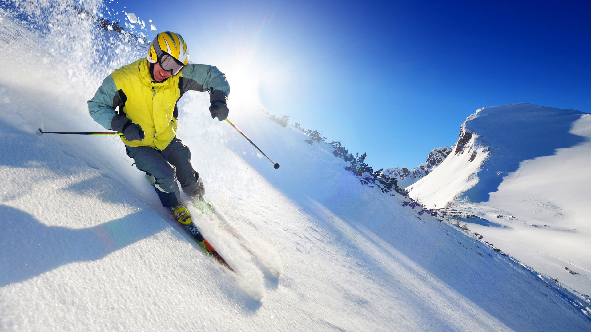 Wallpaper ski snow mountain skier skiing sun desktop wallpaper 1920x1080