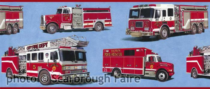 Fire Truck Wallpaper Border CK83111B kids fire engine wallpaper 700x297