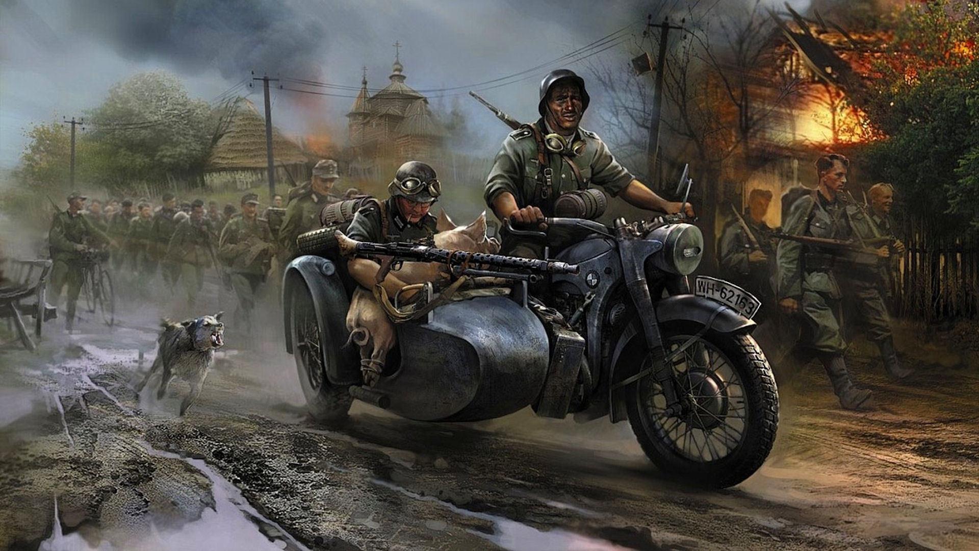 German vehicles motorbikes motorcycles military wars 1920x1080