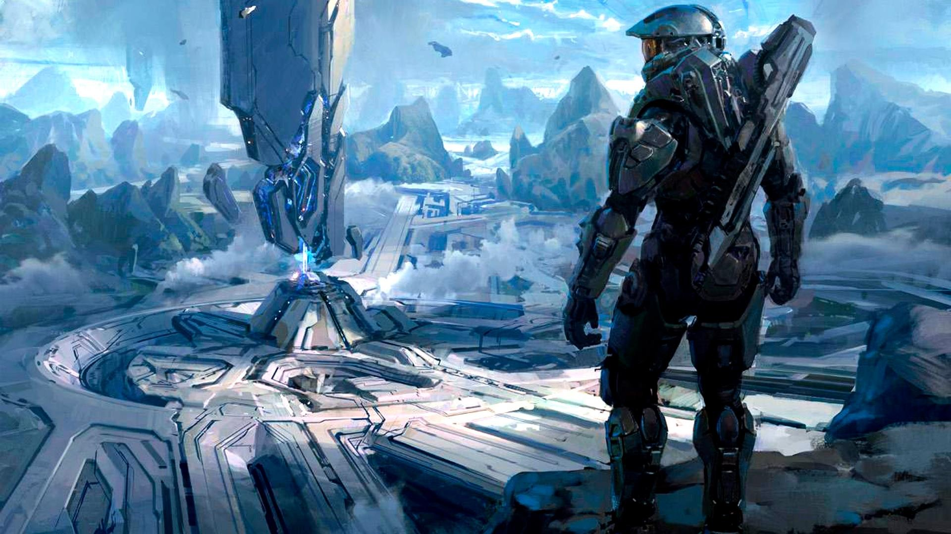 Halo Master Chief digital art concept art science fiction artwork 1920x1080