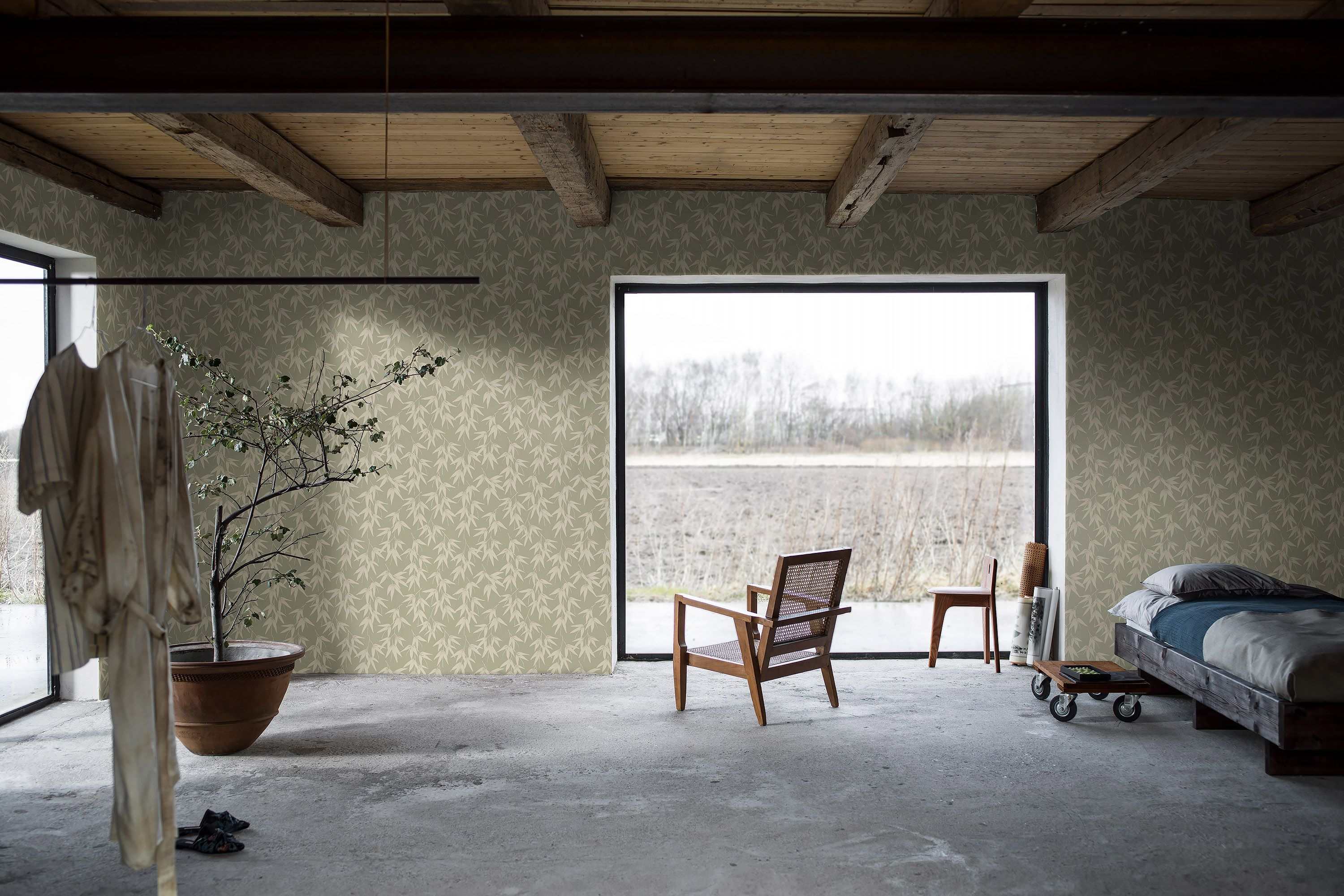 inspired Bamboo Garden wallpaper in green combines a naturalistic 3000x2000