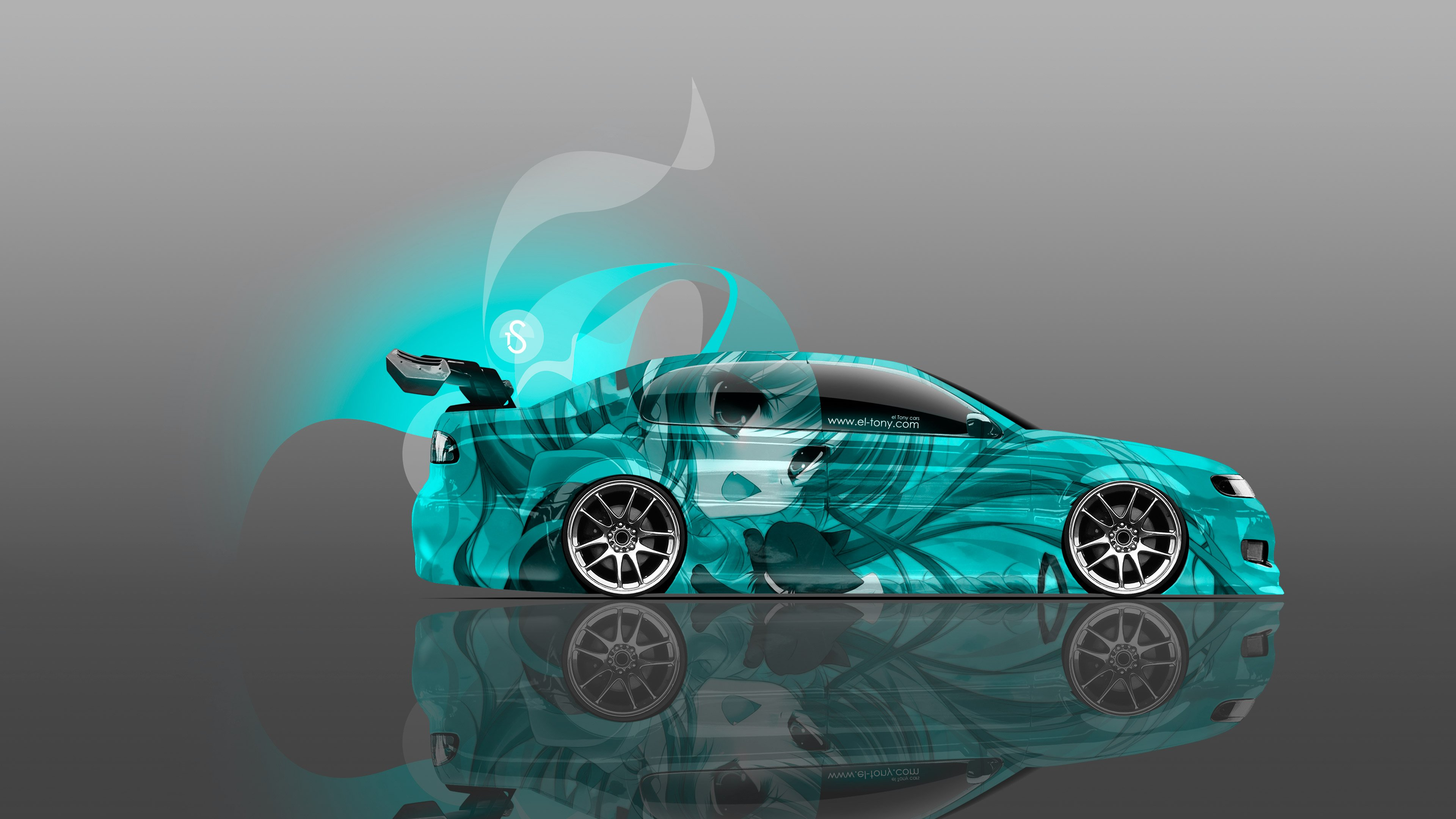JDM Tuning Side Anime Girl Aerography Car 2014 Azure Neon Effects 4K  3840x2160