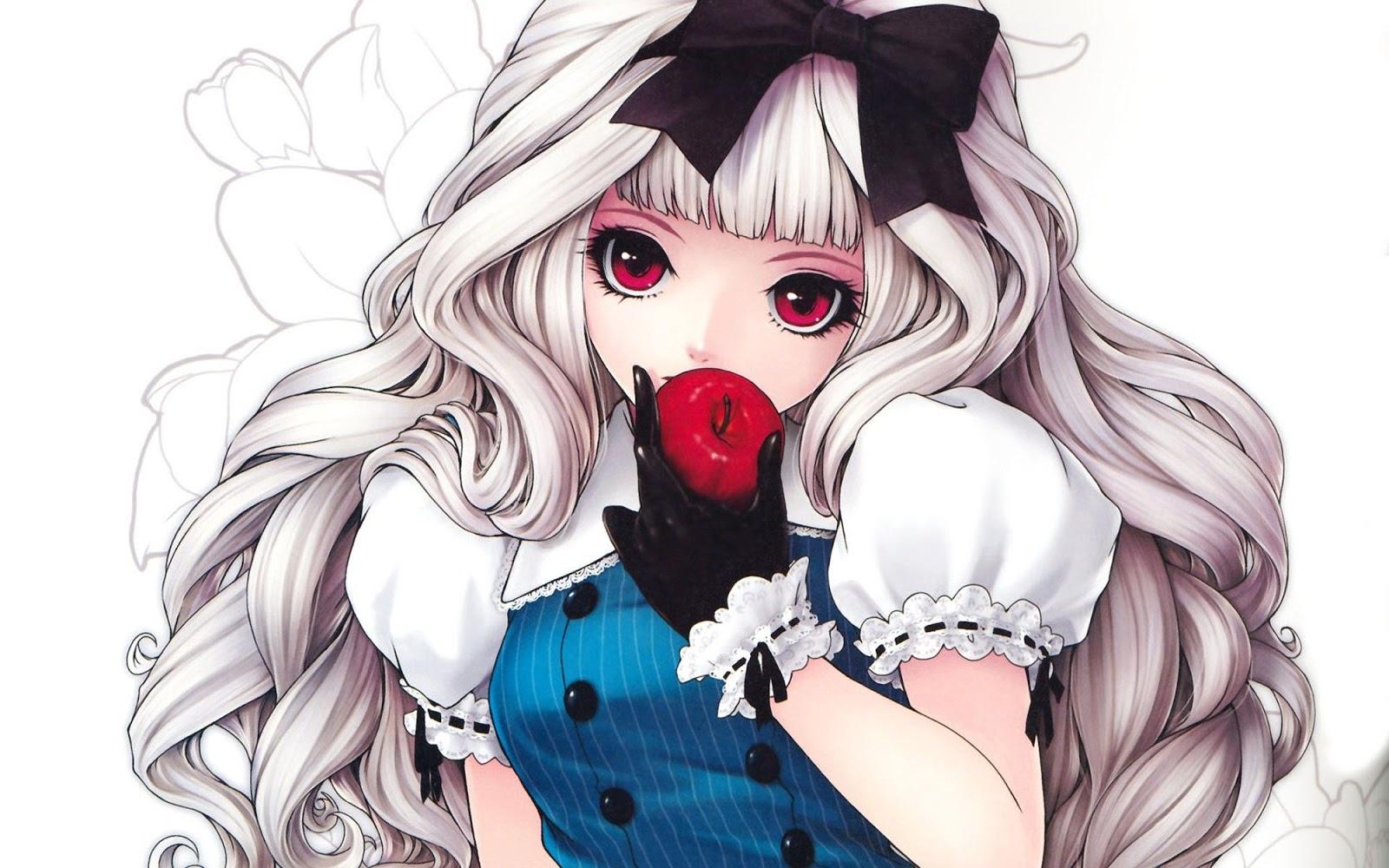 Anime Cute White Long Hair Red Eye Eating Apple HD Wallpaper Desktop 1600x1000