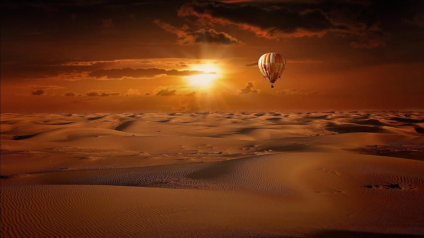 Hot Air Balloon Desert Sunrise Wallpapers HD Wallpapers 1366x768