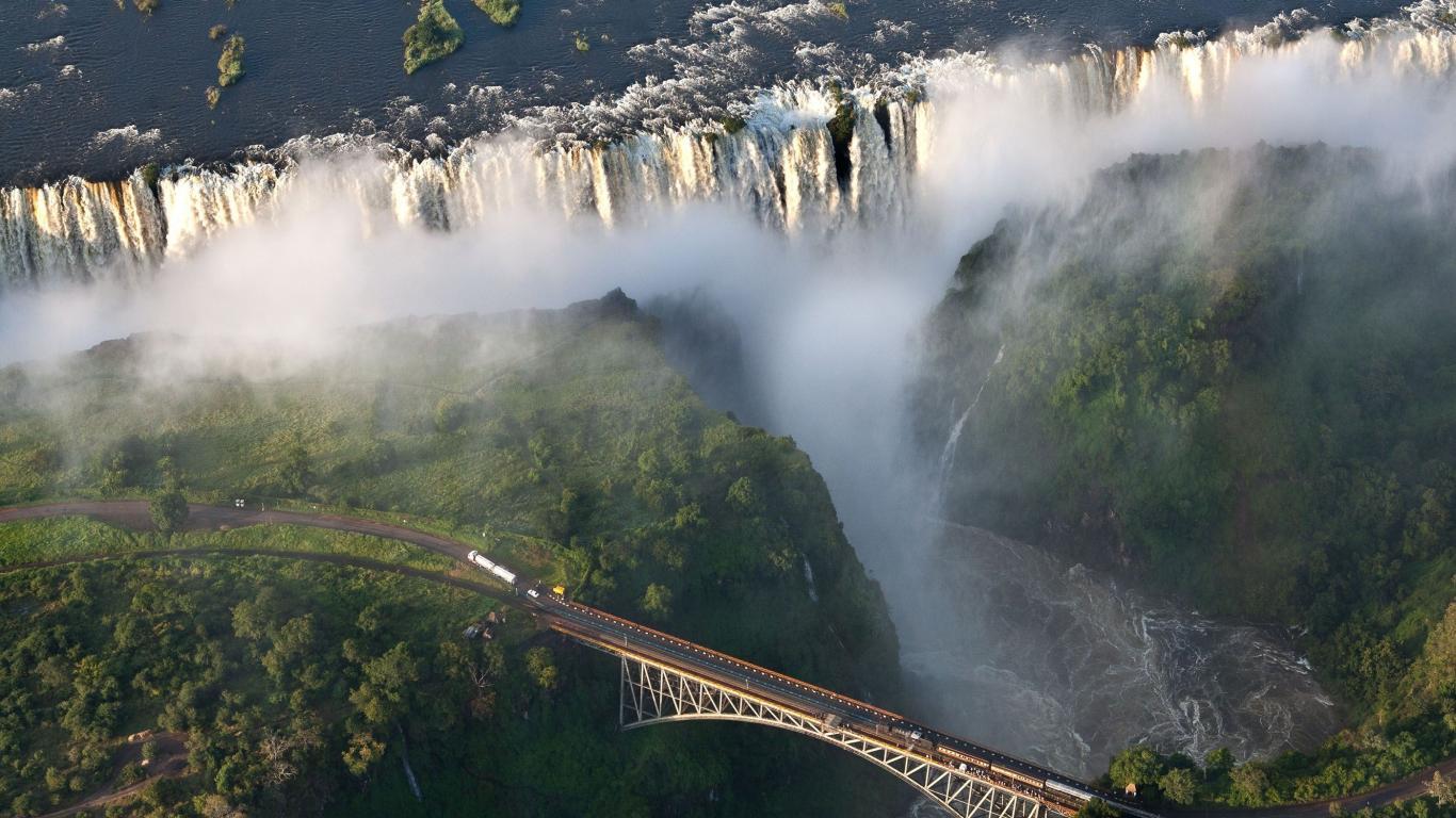 Bridges south africa waterfalls victoria falls wallpaper 66070 1366x768