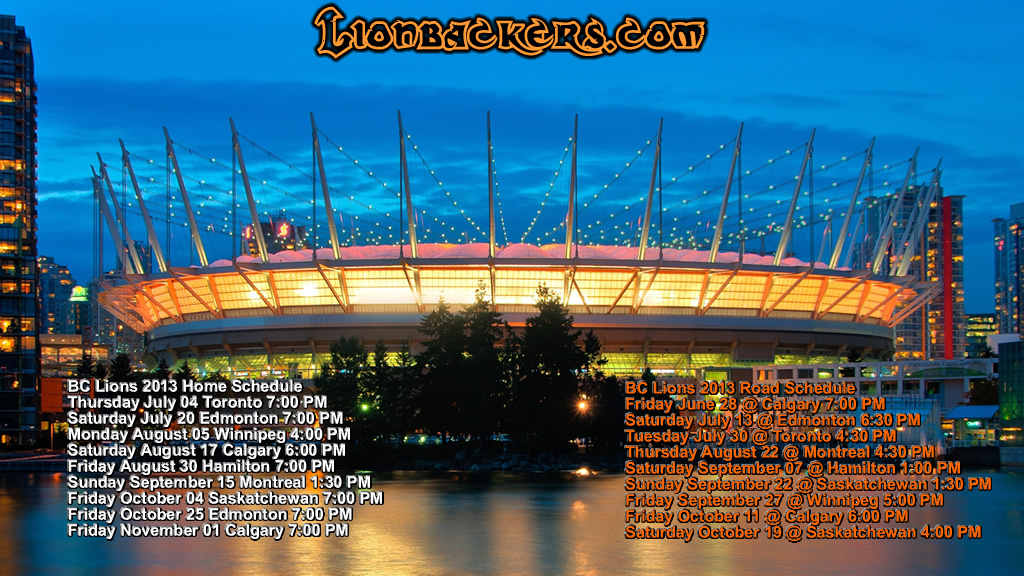 2013 bc lions schedule wallpaper 2013 bc lions schedule wallpaper 1024x576