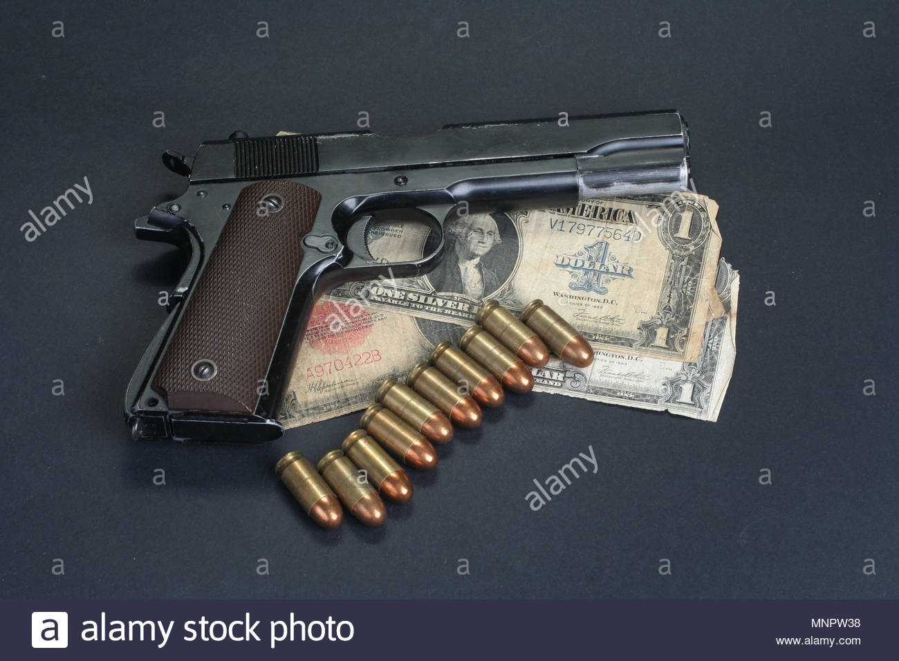 colt goverment M1911 on black background Stock Photo 185514092 1300x956