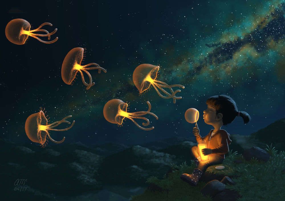 Wallpaper Girl blow bubbles that turn into jellyfish by Andrew 1000x707