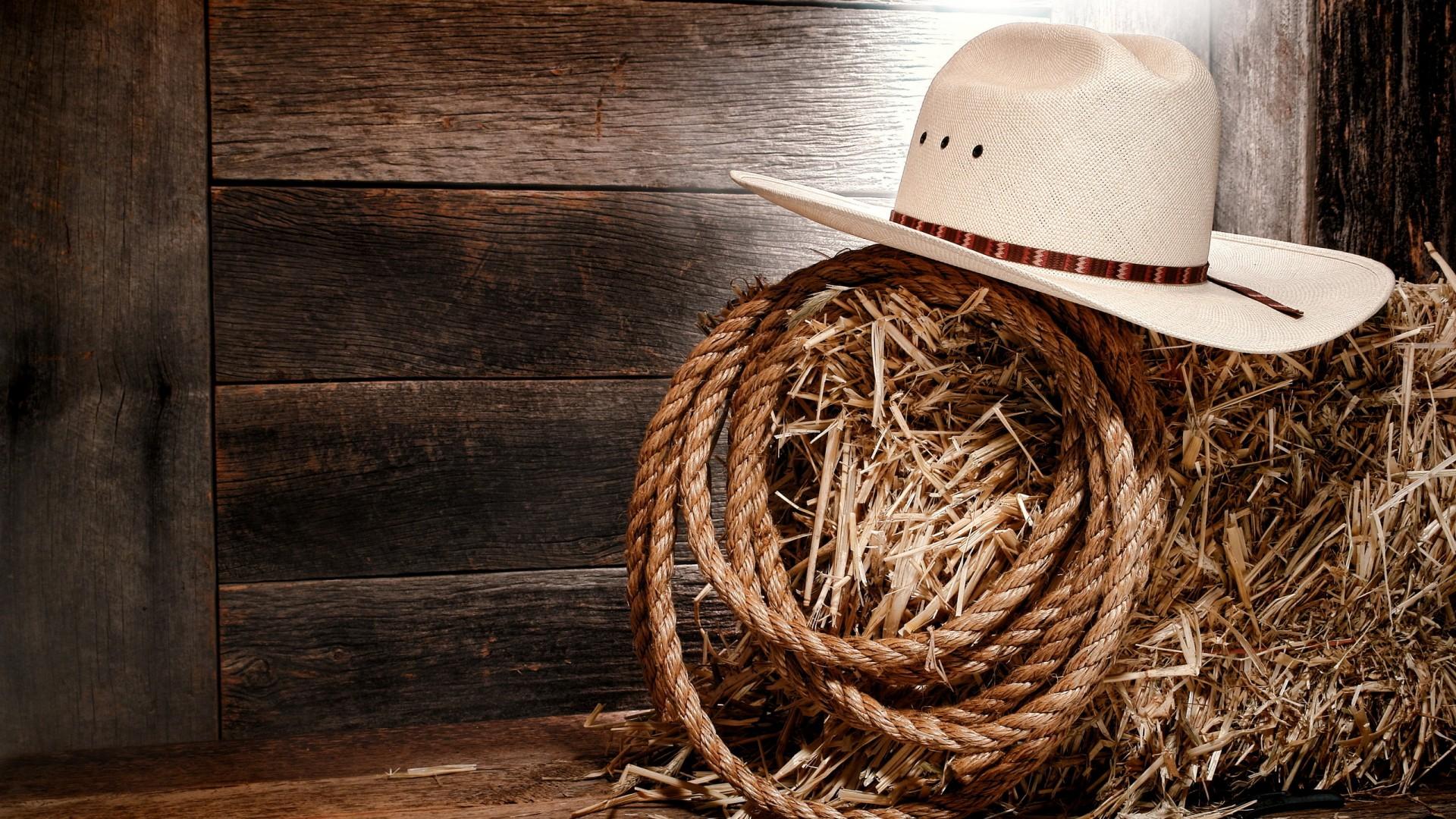 Wallpaper hay rope hat Cowboy hat 1920x1080