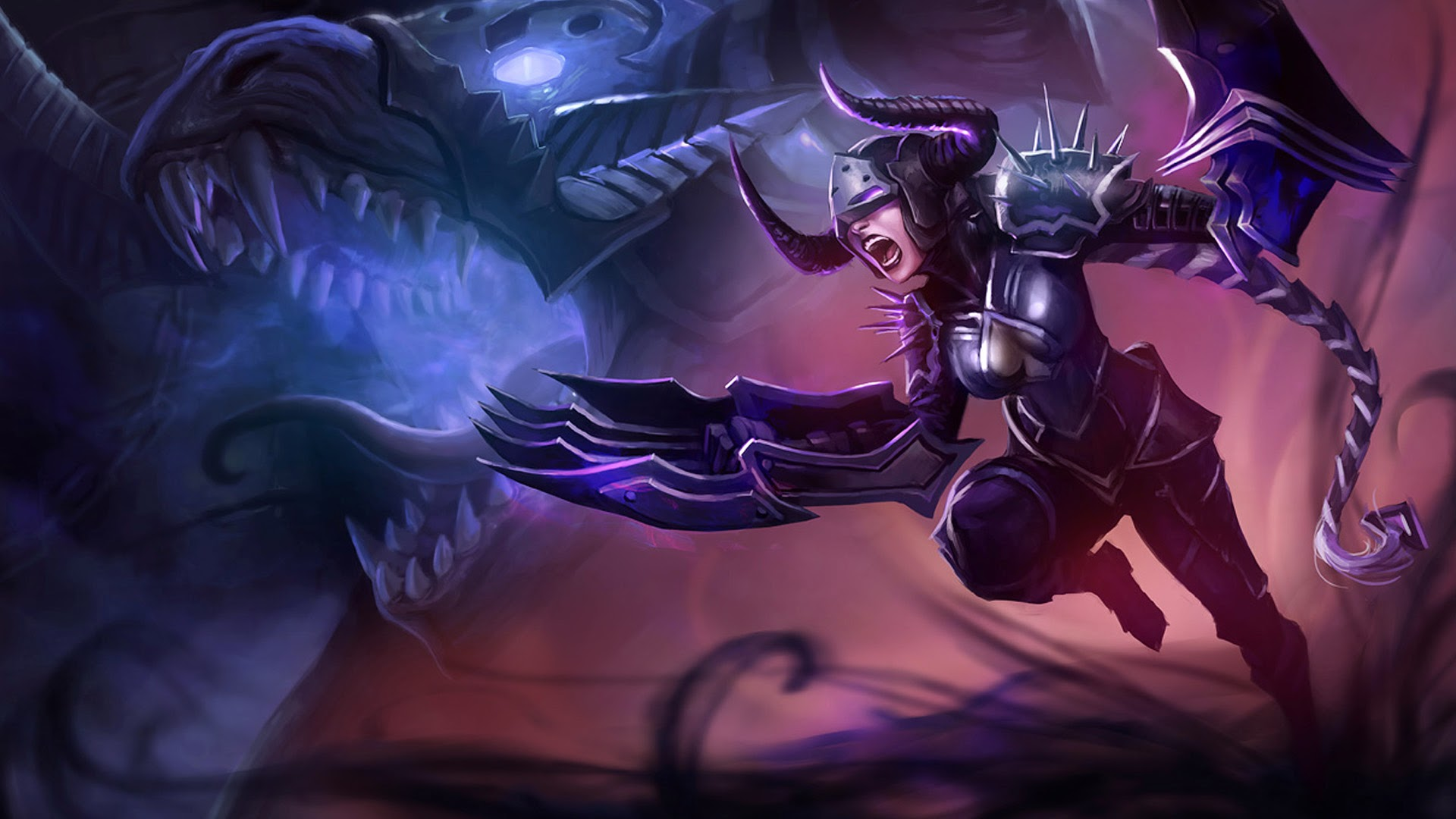 Shyvana LoL Splash Darkflame 3k Wallpaper HD 1920x1080
