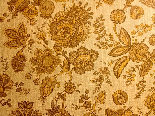 Los Robles Mobile Park Retro Harvest Gold Floral Wallpape Flickr 500x375