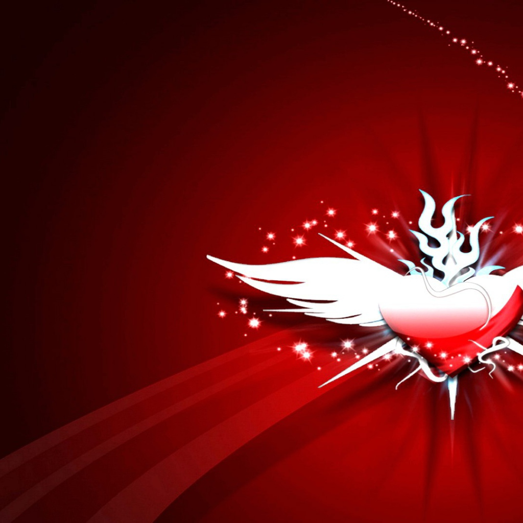 Desktop wallpapers Love A heart with wings on a red background 1024x1024