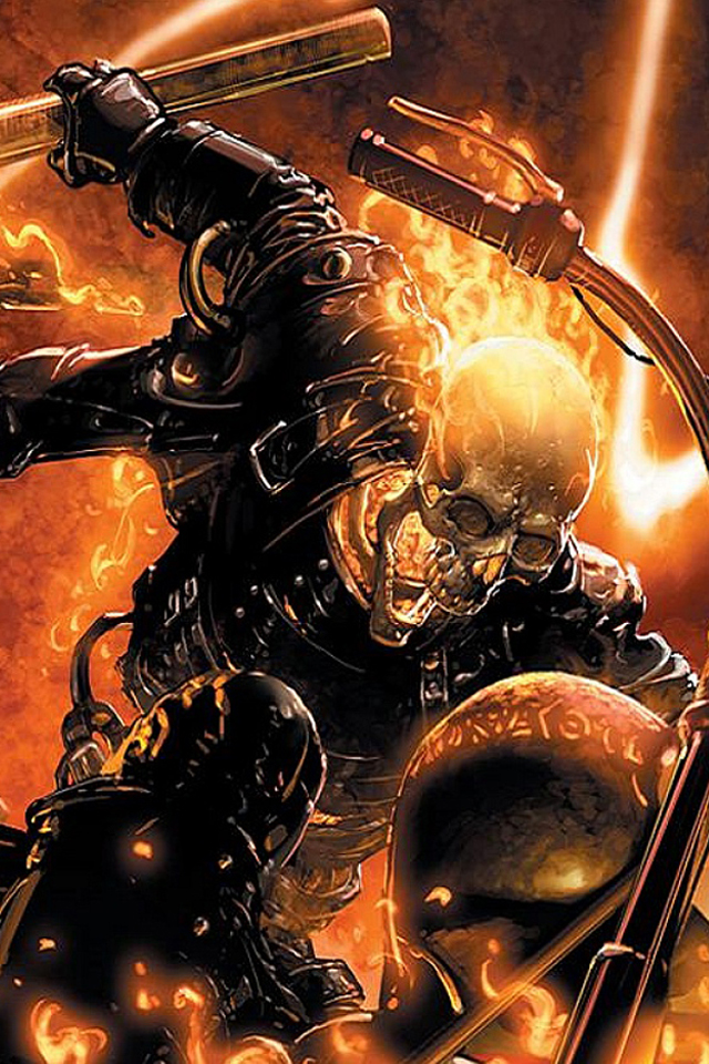 iPhone background Ghost Rider I4 from category cartoons wallpapers for 640x960