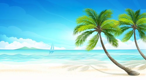 EPS file Tropical islands holiday background design vector 04 500x274