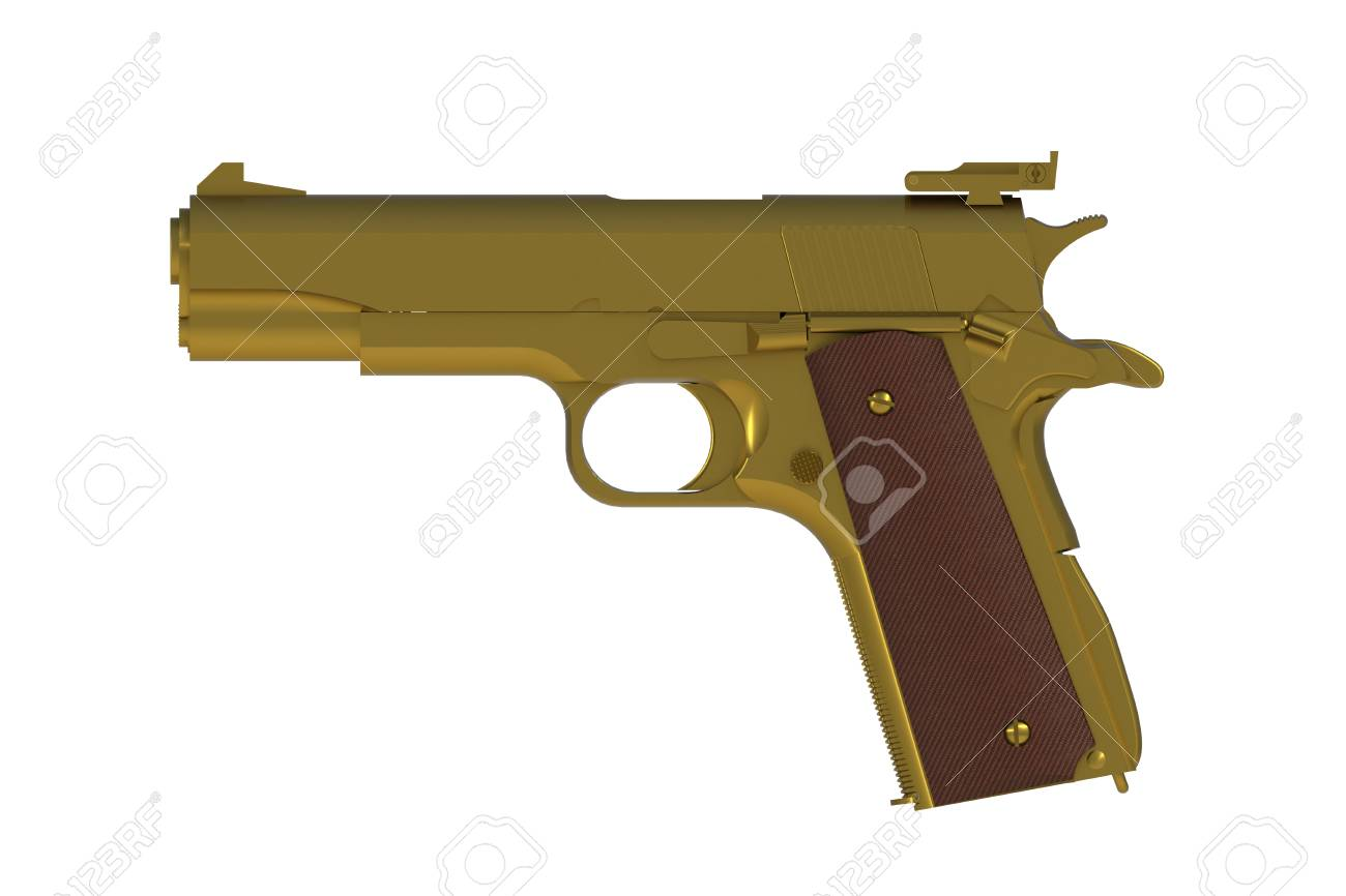 Beside View Of Gold M1911 Semi automatic 45 Caliber Pistol 1300x866