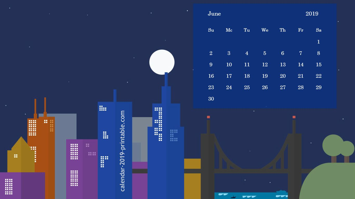 beautiful june 2019 wallpaper calendar Calendar 2019 Wallpapers 1366x768