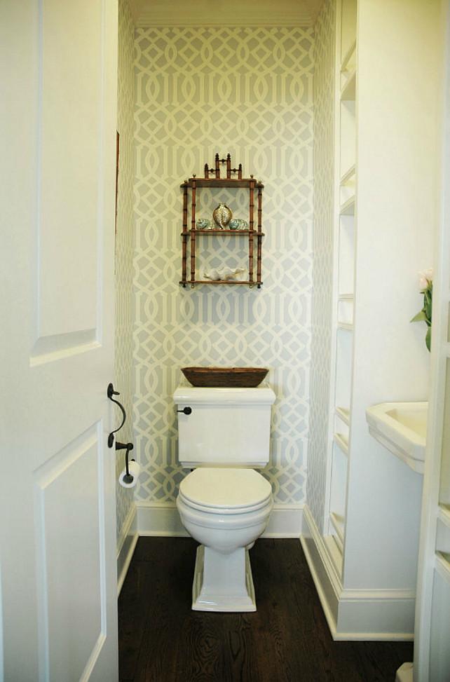 Zen bathroom with Kelly Wearstler Imperial Trellis Soft Aqua Wallpaper 642x973