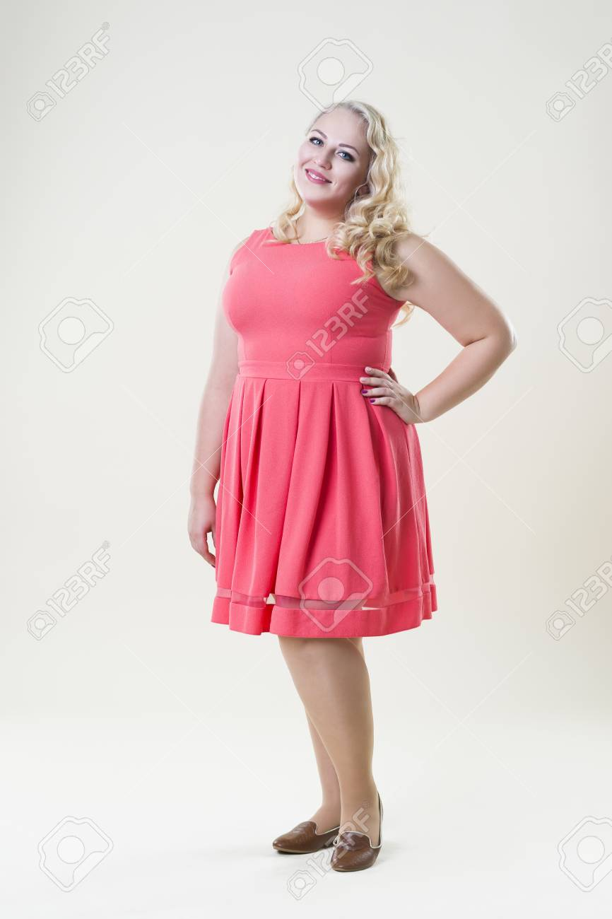 Plus Size Fashion Model Fat Woman On Beige Background Overweight 866x1300