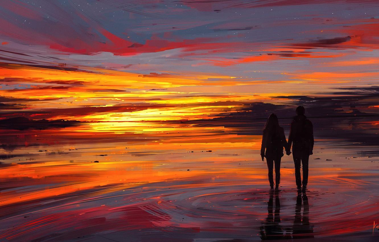 Wallpaper girl love twilight sky sea landscape woman sunset 1332x850