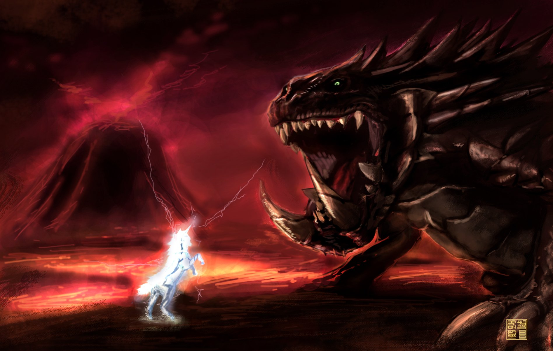 mh2 kirin vs akantor by eronzki999 high resolution HD Wallpaper of 1895x1204
