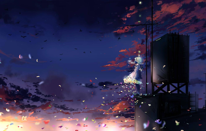 Wallpaper butterfly birds girl gas mask antenna blue hair 1332x850