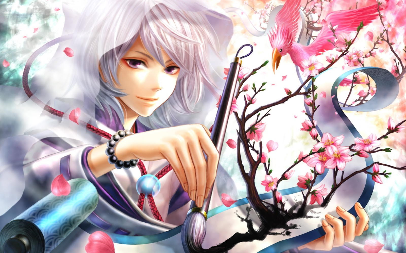 Cute Guy Artist Painting Flowers White Hair Anime HD Wallpaper Desktop 1600x1000
