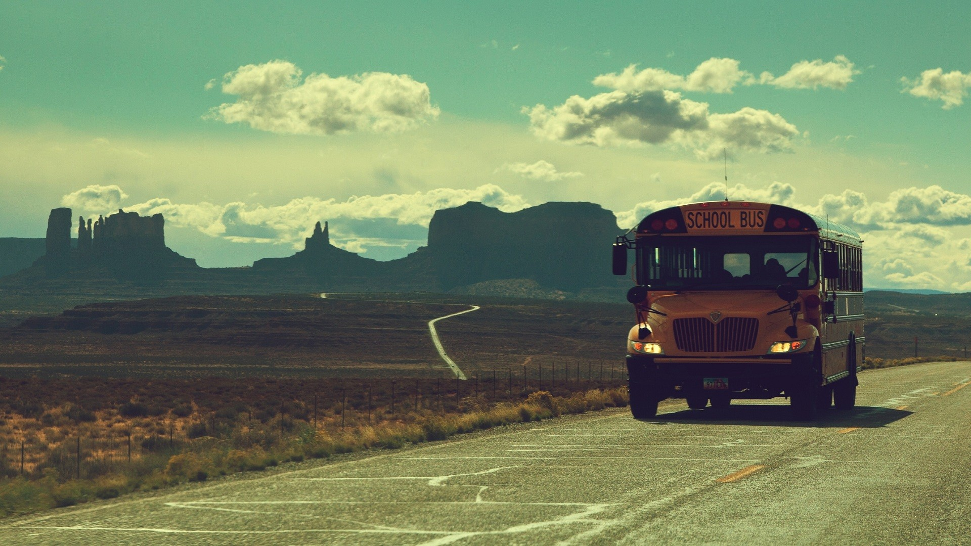 Wallpapers mountains clouds vintage roads school bus 1920x1080