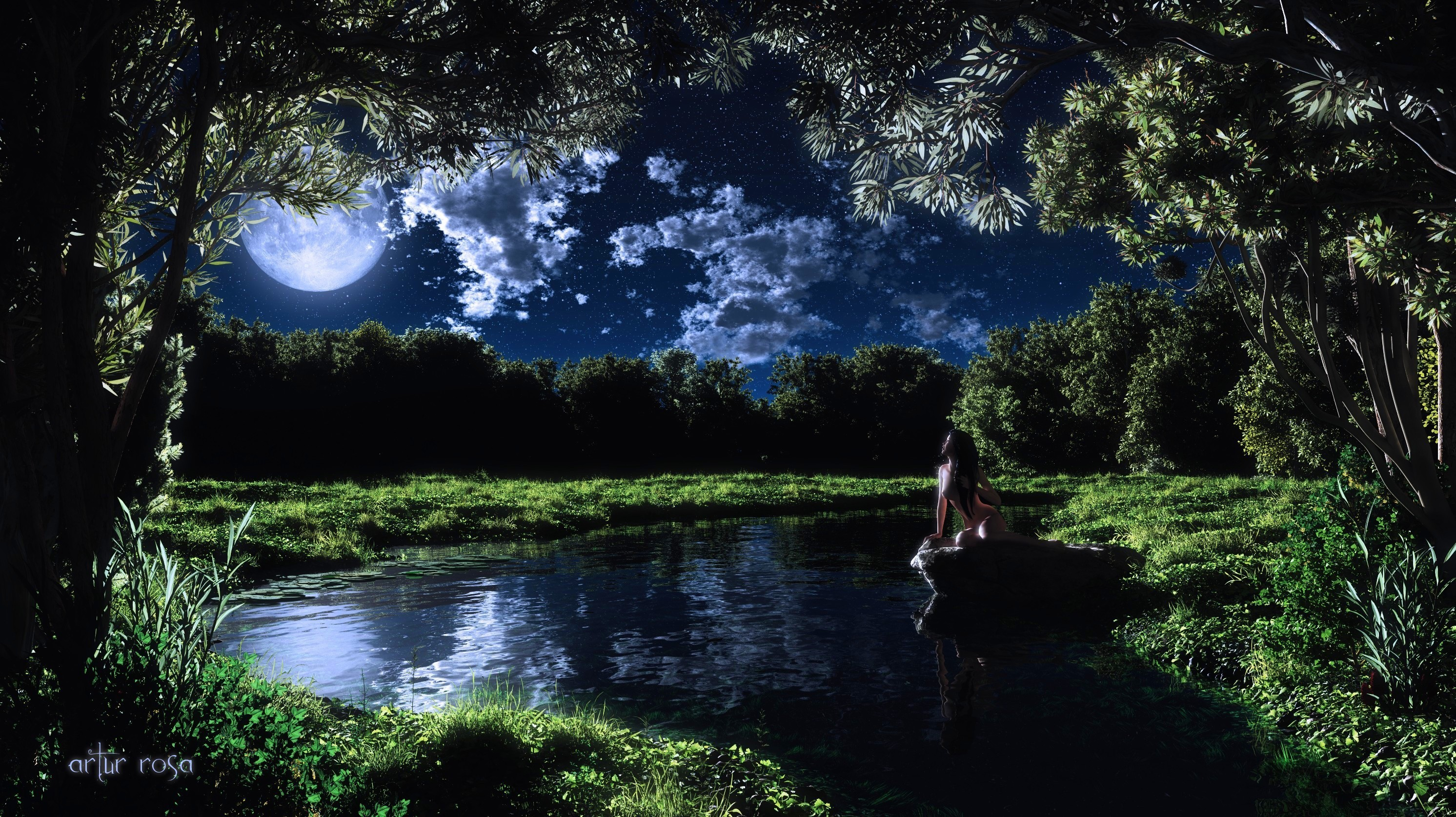 Night Moon Relax wallpapers and images   wallpapers pictures 2984x1675
