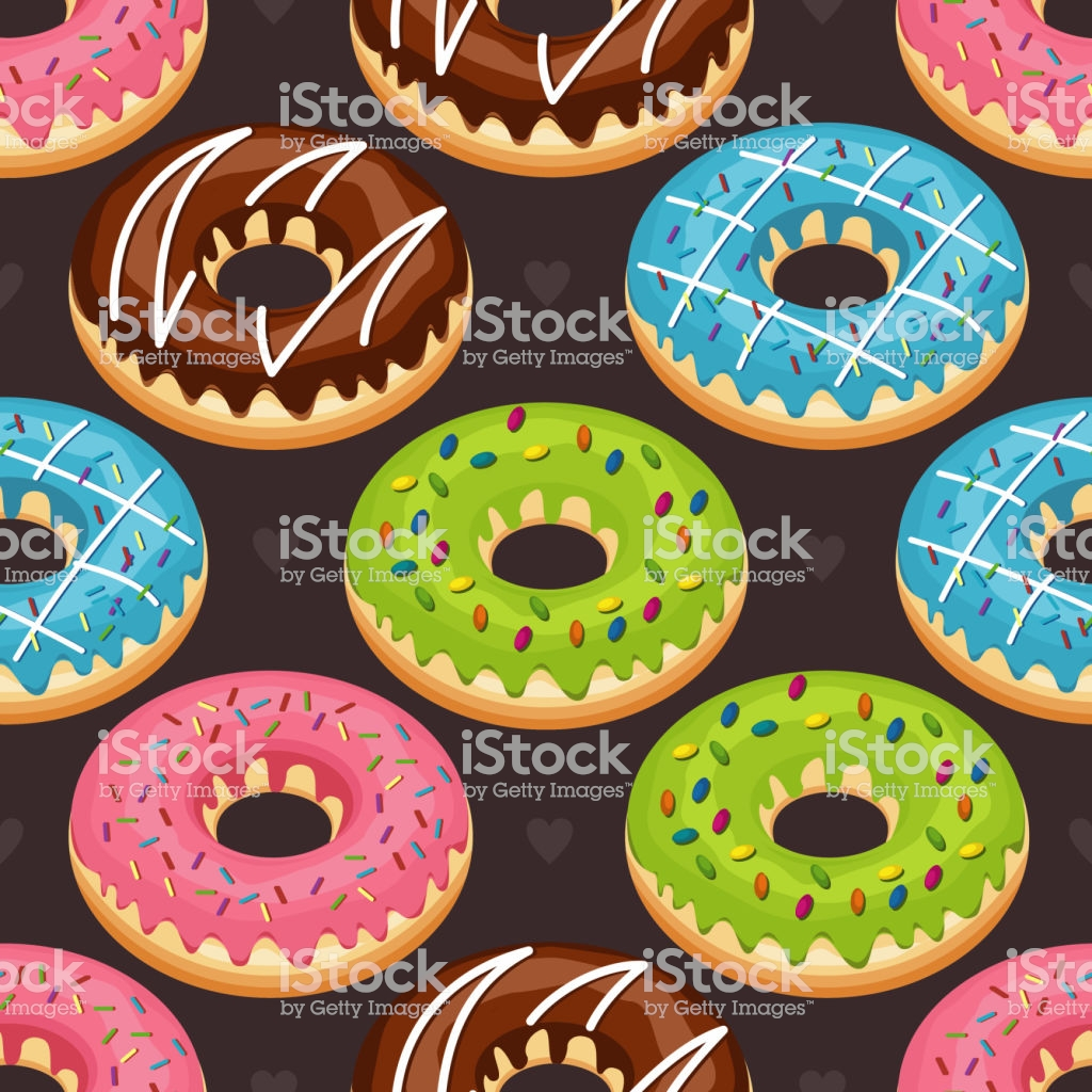 Sweet Snack Seamless Pattern Donut Doughnut Wallpaper Repeatable 1024x1024