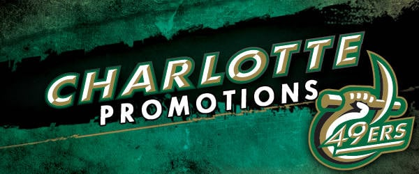 Charlotte 49ers Promotions   Charlotte 49ers 600x250