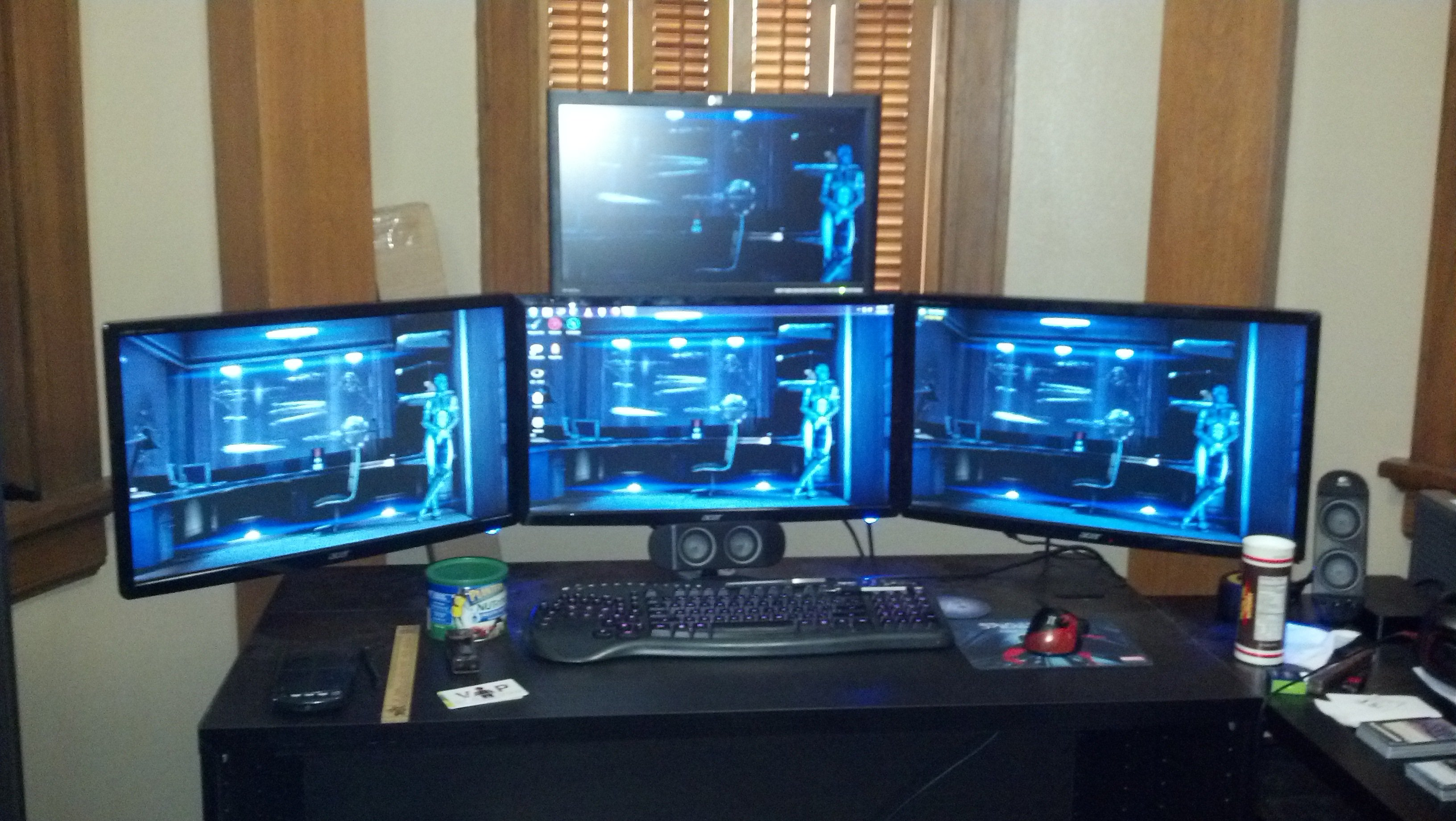DIY triple monitor stand plus second tier 4 monitors total 3264x1840