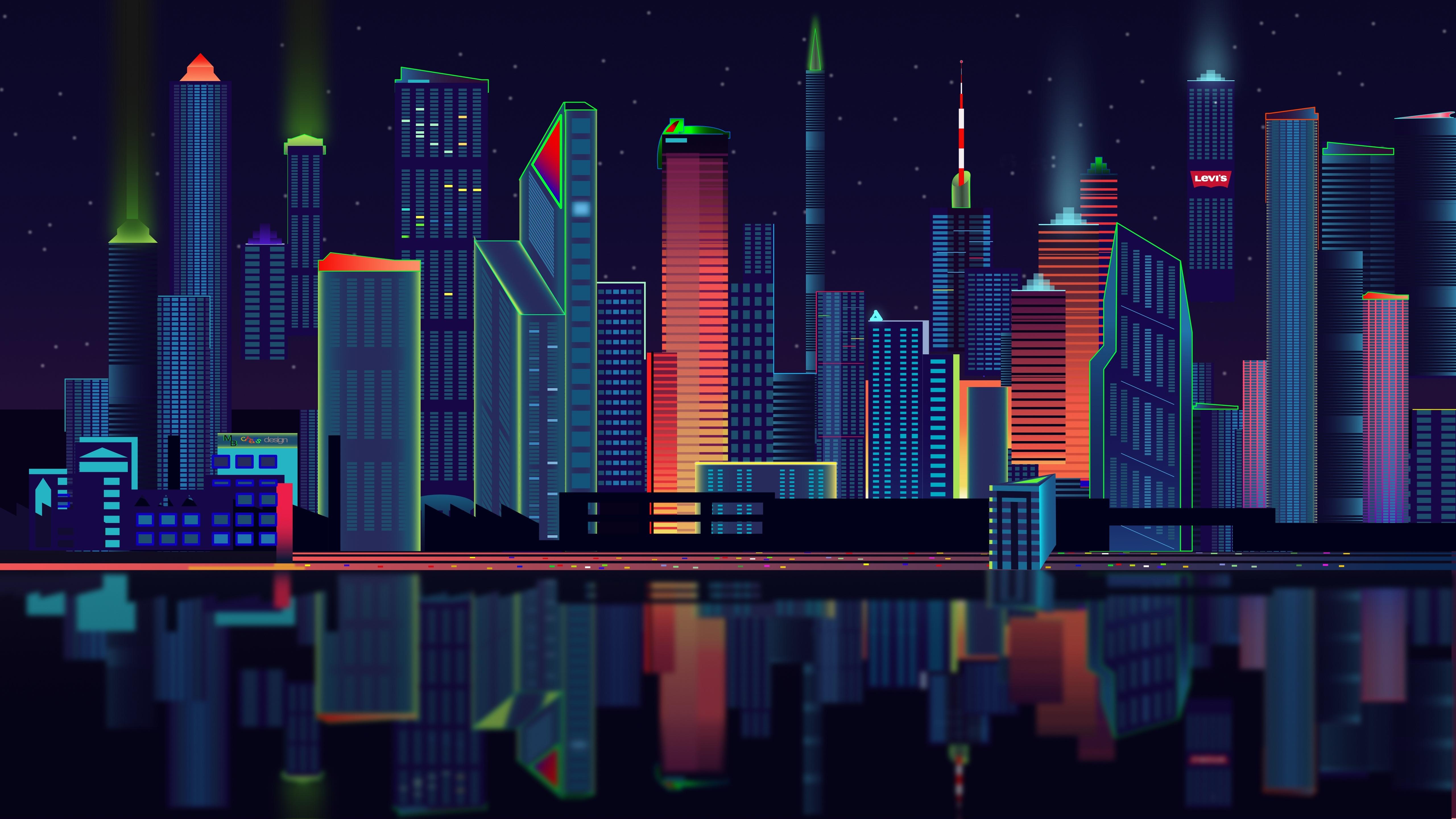 City vector panorama[5120 2880] wallpaper 5120x2880