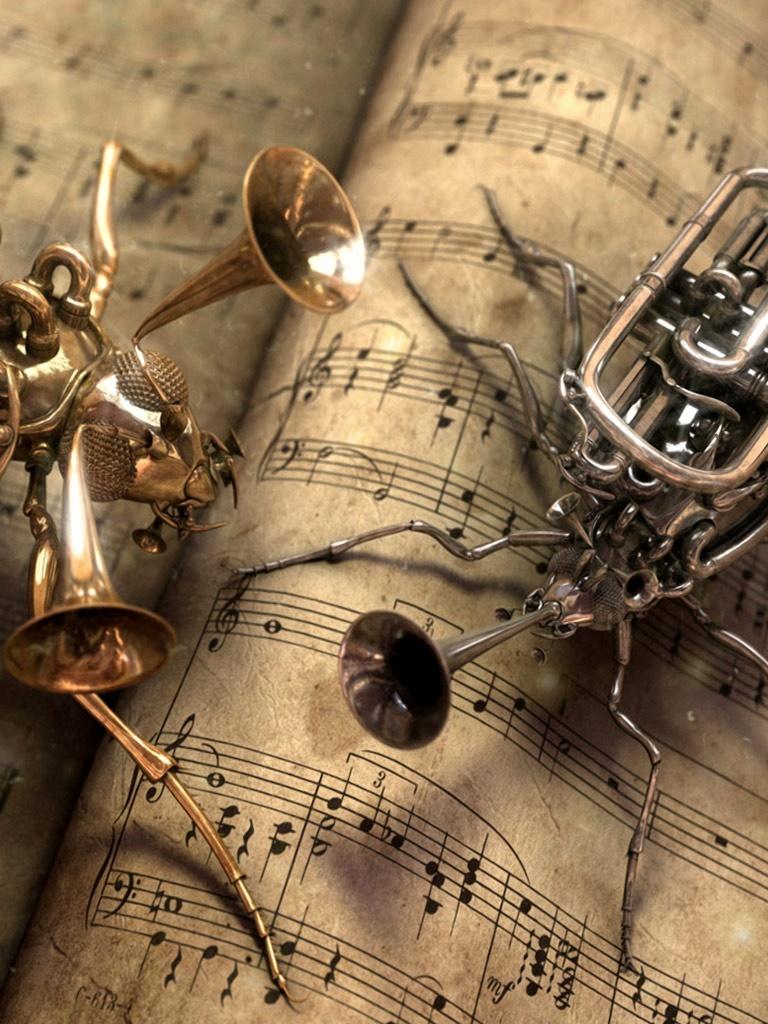 Trumpet And Cornet Steampunk Bugs   iPad iPhone HD Wallpaper 768x1024