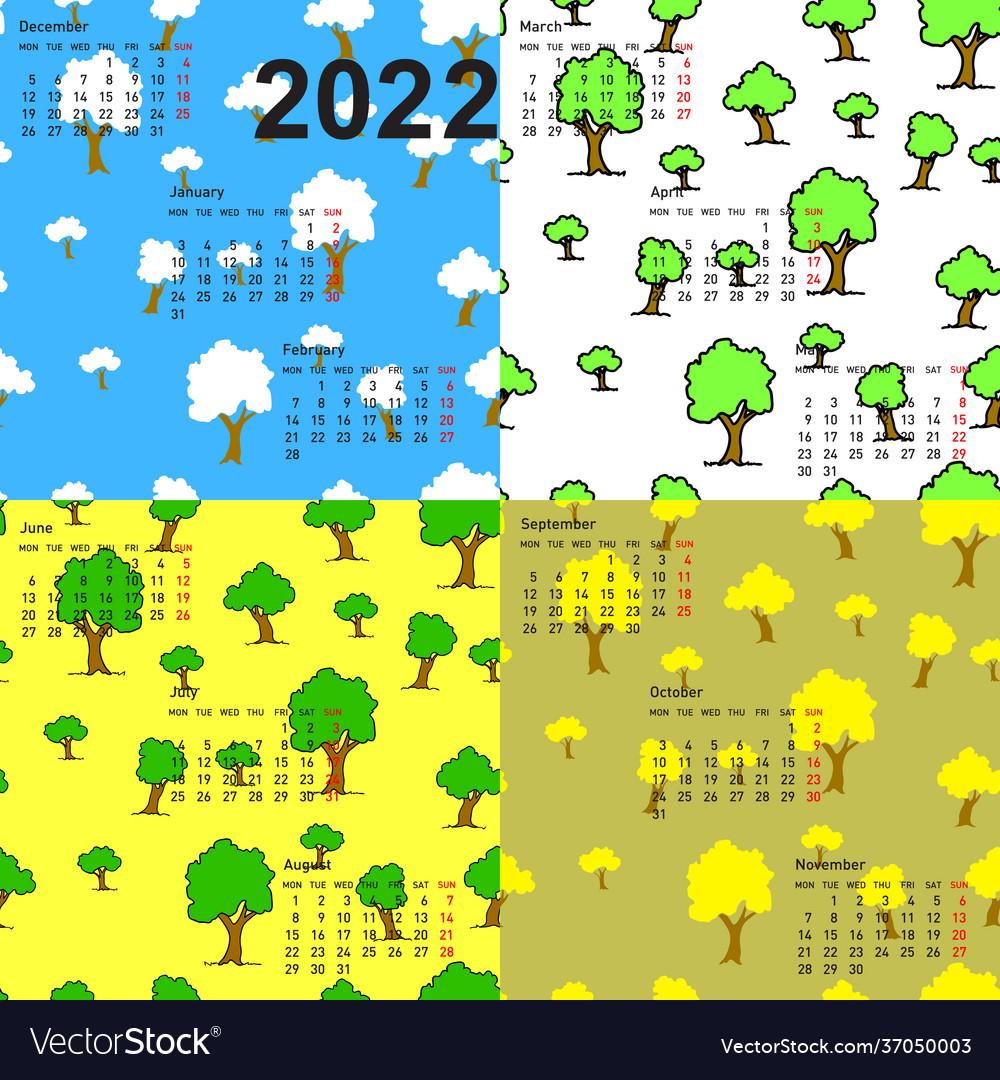 Seamless wallpaper 2022 calendar days year Vector Image 1000x1080