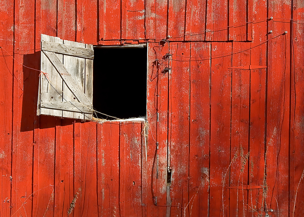 Red Barn Wood Barn door open 1024x731