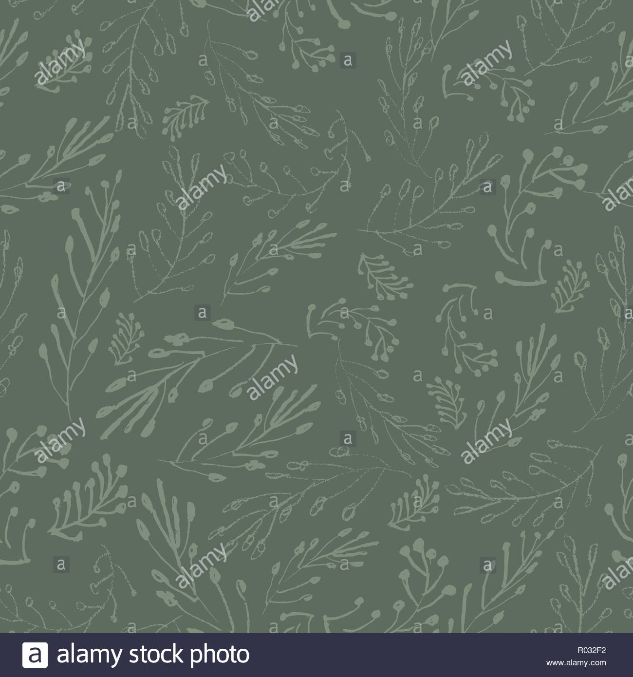 Sophisticated vector green floral seamless pattern on deep green 1300x1390