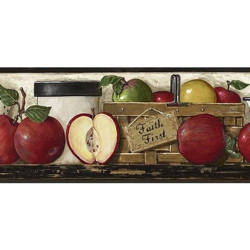 Red Black Faithful Apples Wallpaper Border Home Kitchen 500x500