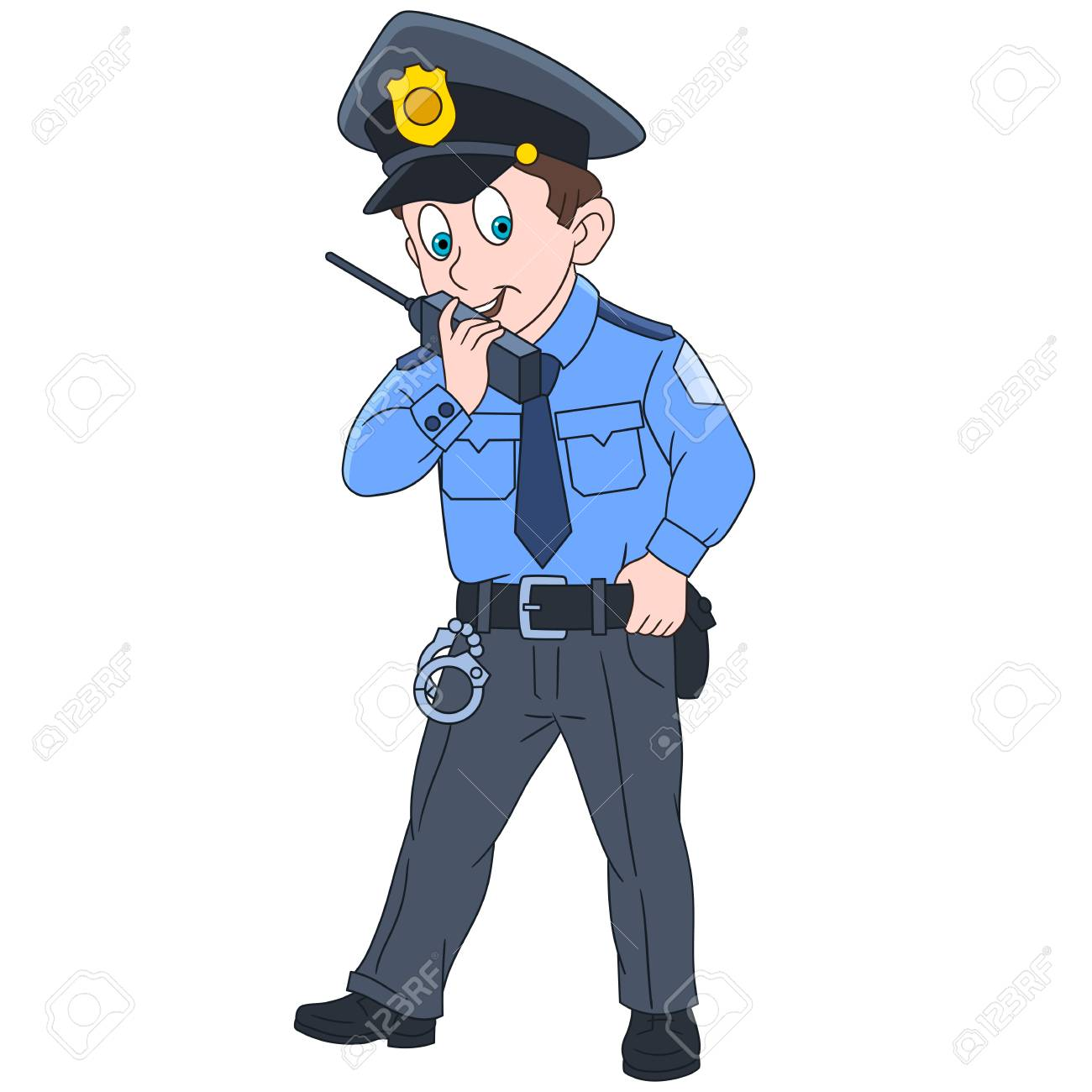 Cartoon Police Officer Policeman Isolated On White Background 1300x1300
