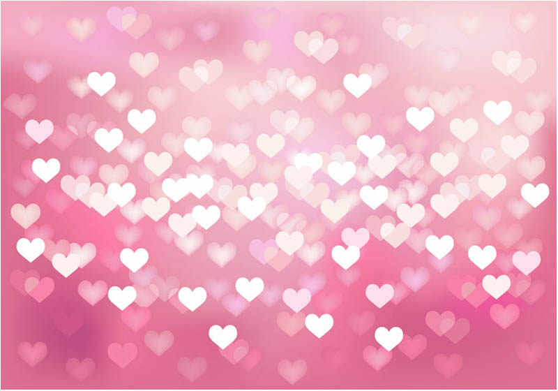 set of vector bokes hearts background with pink romantic heart 800x560