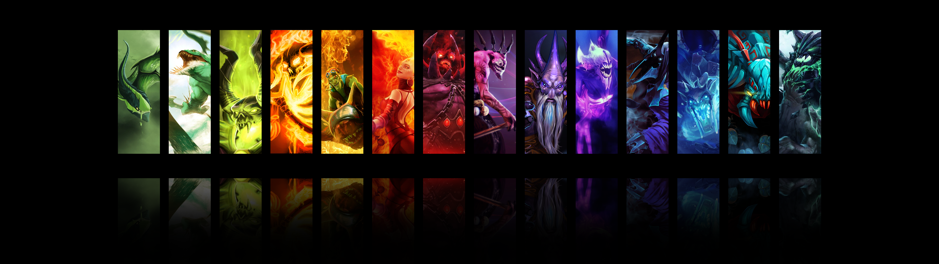 DotA 2 Hero Wallpaper I threw together [1920x1080] DotA2 3840x1080